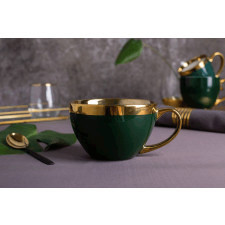 Duża filiżanka do kawy i herbaty porcelanowa jumbo altom design aurora gold zielona 400 ml