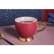 Duża filiżanka do kawy i herbaty porcelanowa jumbo na stopce altom design aurora gold bordowa 400 ml