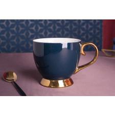 Duża filiżanka do kawy i herbaty porcelanowa jumbo na stopce altom design aurora gold granatowa 400