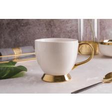 Duża filiżanka do kawy i herbaty porcelanowa jumbo na stopce altom design aurora gold kremowa 400 ml