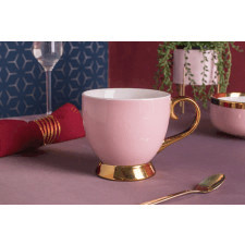 Duża filiżanka do kawy i herbaty porcelanowa jumbo na stopce altom design aurora gold pudrowy róż 40