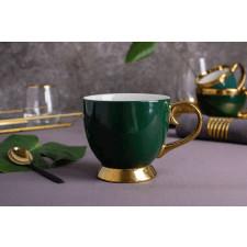 Duża filiżanka do kawy i herbaty porcelanowa jumbo na stopce altom design aurora gold zielona 400 ml