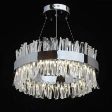 Duża lampa wisząca led chromowana, kryształowe sztabki adelard mw-light crystal (642014601)