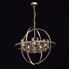 Duża lampa wisząca loft niklowana kula na 5 żarówek mw-light (285010605)