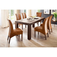 Duży drewniany dębowy stół leeds 180 x 90 cm / dąb lity postarzany