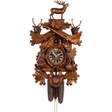 Duży, drewniany zegar z kukułką nakręcany co 8 dni hones 52 cm (hs-837-4nu)