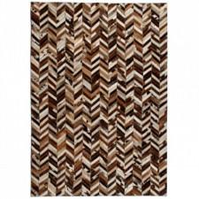 Dywan ze skóry, patchwork jodełkę, 160x230 cm, brązowo-biały