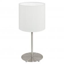 Eglo pasteri 95725 lampa stołowa z abażurem 1x40w nikiel biała