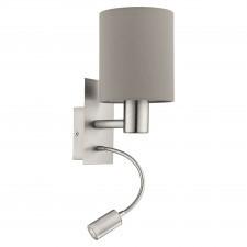 Eglo pasteri 96478 kinkiet lampka ścienna z abażurem 1x40w taupe