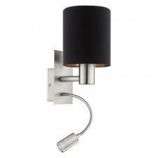 Eglo pasteri 96483 kinkiet lampka ścienna z abażurem 1x40w czarna miedziana