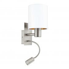 Eglo pasteri 96484 kinkiet z abażurem lampka ścienna 1x40w biała miedziana