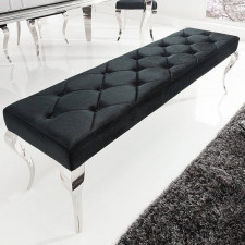 Elegancka ławka modern barock z czarnym siedziskiem i srebrnymi nogami / 170x48cm