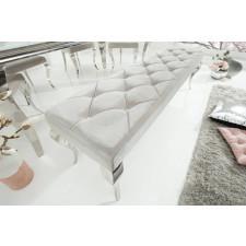 Elegancka ławka modern barock ze srebrnym siedziskiem i srebrnymi nogami / 170x48cm