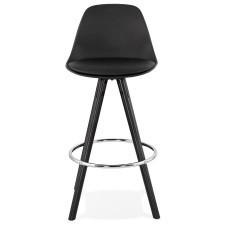 Elegancki tapicerowany czarny hoker supro mini / nogi czarne + srebrne dodatki