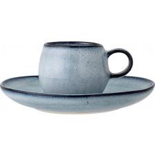Filiżanka do espresso sandrine 100 ml niebieska ze spodkiem