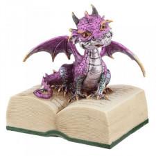 Fioletowy smok z książką - figurka fantasy