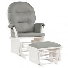 Fotel bujany z podłokietnikiem i otomaną