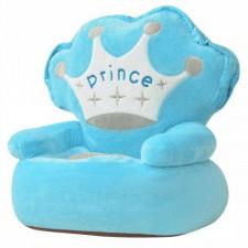 Fotel dla dzieci prince, pluszowy, niebieski