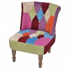 Fotel francuski, patchworkowy, tkanina