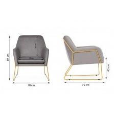 Fotel na płozach haris czarny/złote welur