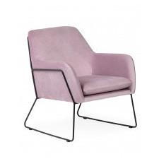 Fotel na płozach haris różowy/czarny welur