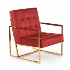 Fotel na płozach prius welurowy bordo/złoty glamour