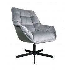 Fotel obrotowy convi szary welur czarne nóżki pikowany