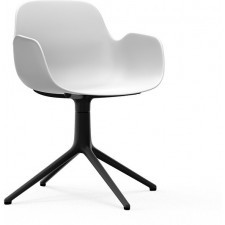 Fotel obrotowy form swivel 4l biały na czarnych aluminiowych nogach