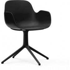 Fotel obrotowy form swivel 4l czarny na czarnych aluminiowych nogach