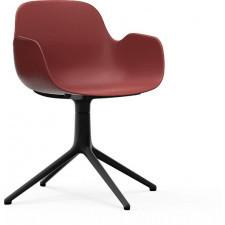 Fotel obrotowy form swivel 4l czerwony na czarnych aluminiowych nogach