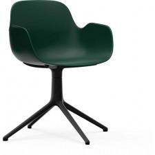 Fotel obrotowy form swivel 4l zielony na czarnych aluminiowych nogach
