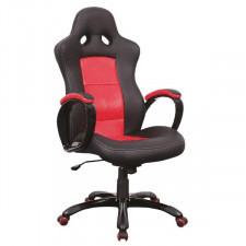 Fotel obrotowy kort czarny/ czerwony ekoskóra