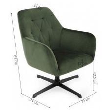 Fotel obrotowy tilda zielony welur czarne nóżki pikowany