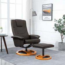 Fotel obrotowy z podnóżkiem, brązowy, sztuczna skóra