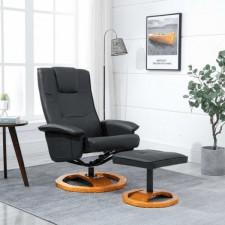 Fotel obrotowy z podnóżkiem, czarny, sztuczna skóra
