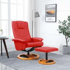 Fotel obrotowy z podnóżkiem, czerwony, sztuczna skóra