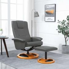 Fotel obrotowy z podnóżkiem, szary, sztuczna skóra