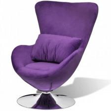 Fotel obrotowy z poduszką, mały, fioletowy, aksamitny