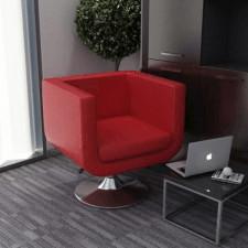 Fotel obrotowy, czerwony, sztuczna skóra