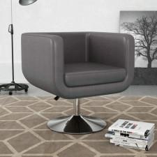 Fotel obrotowy, szary, sztuczna skóra