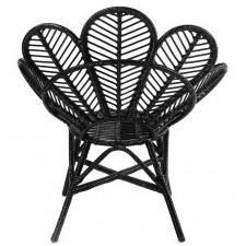 Fotel rattanowy stokrotka daisy rattan czarny handmade boho