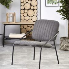 Fotel tapicerowany do salonu flair szary/czarny