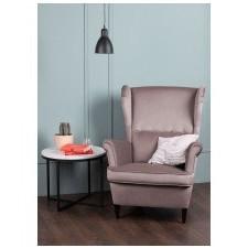 Fotel uszak do salonu emil pudrowy róż welurowy nóżki wenge