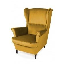 Fotel uszak do salonu emil żółty welurowy nóżki wenge