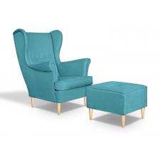 Fotel uszak fluo z podnóżkiem skandynawski