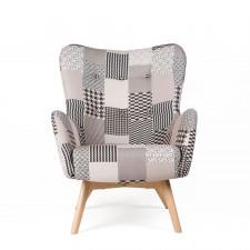 Fotel uszak vegas skandynawski patchwork