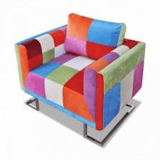 Fotel w formie kostki z chromowaną podstawą, patchworkowy