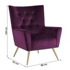 Fotel welurowy bodiva bordowy/mosiądz