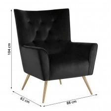 Fotel welurowy bodiva ciemnoszary/mosiądz