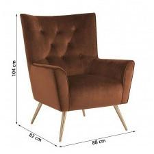 Fotel welurowy bodiva miedziany/mosiądz